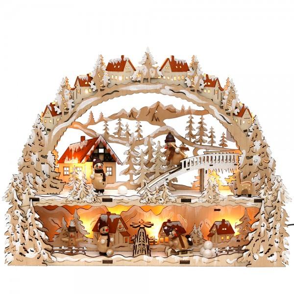 Holz Schwibbogen & Bank verschneit mit Schneemannfiguren (Laserholz) 45 x 9 x 34 cm Batteriebetrieb AA, inkl. Adapter 4,5 V, LED