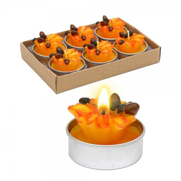 6er Set Teelichte Eichenblätter, herbstfarben 4 x 4 x 3 cm