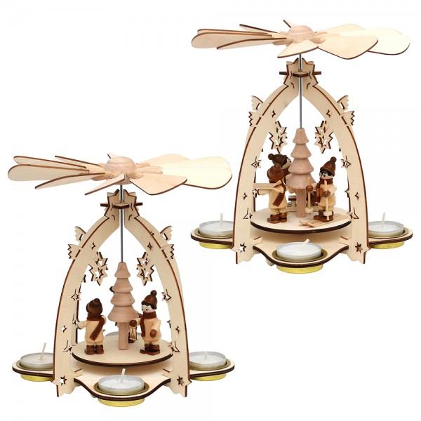 Holz Teelichtpyramide mit Winterfiguren (Laserholz) für 4 Teelichte 2-fach sort. 18 x 18 x 21 cm im Set
