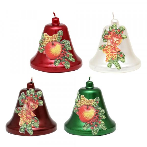 Glockenkerze Apfel/Glocke metallic weinrot, rot, weiß, grün 4-fach sort. 8 x 8 x 8 cm im Set