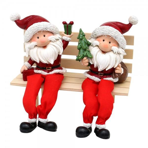 Polyresin Weihnachtsmann Figuren Kantensitzer mit Geschenk und Tannenbaum 2-fach sort. 9,5 x 4 x 20 cm im Set