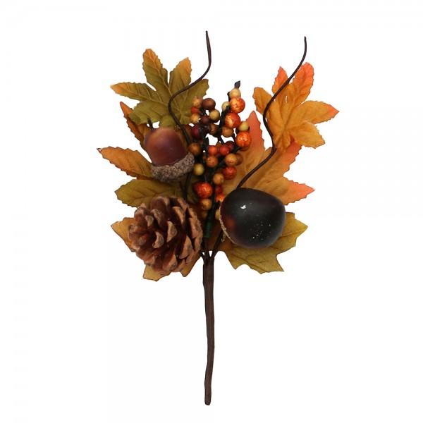 Plastik Herbst-Deko-Pic Kastanie, Eichel, Zapfen 10 x 5 x 15 cm