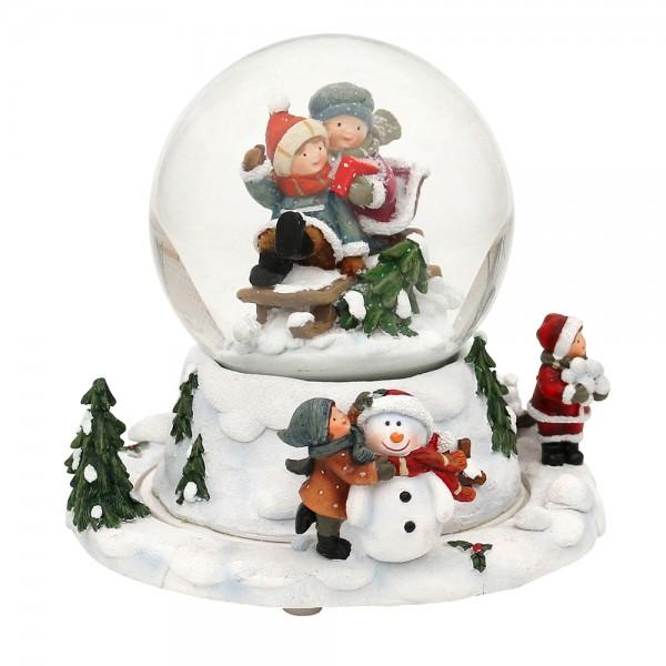 Polyresin Schneekugel Kinder auf Schlitten mit bewegtem Sockel 15,5 x 15,5 x 14,5 cm Ø 10 cm Bewegung, Spielwerk Stille Nacht