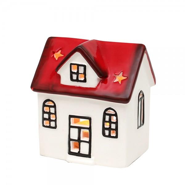 Dolomite Windlichthaus weiß/rot glasiert 9,4 x 7,3 x 10,3 cm