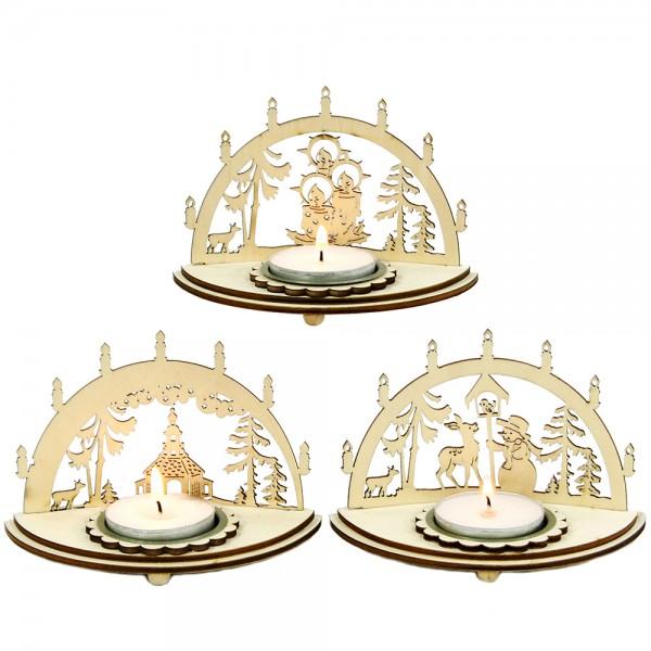 Holz Laserbogen-Teelichthalter klein 3-fach sort. 12 x 7 x 8 cm im Set