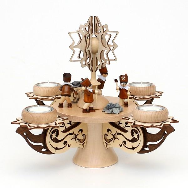 Holz Adventsleuchter mit Stern, Bergleute, natur/braun, edel verziert, für 4 Teelichte 28 x 28 x 27 cm