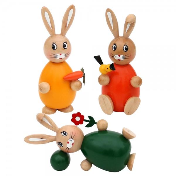 Holz Hasen stehend, sitzend & liegend grün, orange, gelb 3-fach sort. 6 x 5 x 12,5 cm im Set