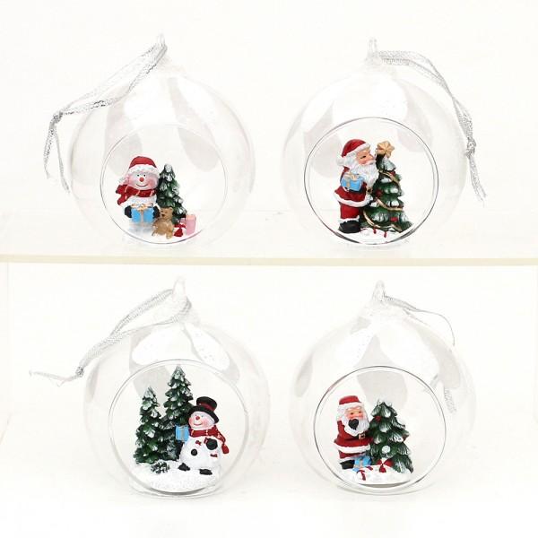 Polyresin Figuren Schnee-/Weihnachtsmann in Glaskugel mit Anhänger 4-fach sort. 8 x 7 x 8,5 cm im Set