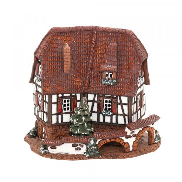 Keramik Licht-Duftölhaus (in Schornstein) Fachwerkhaus 16,5 x 11,5 x 14 cm