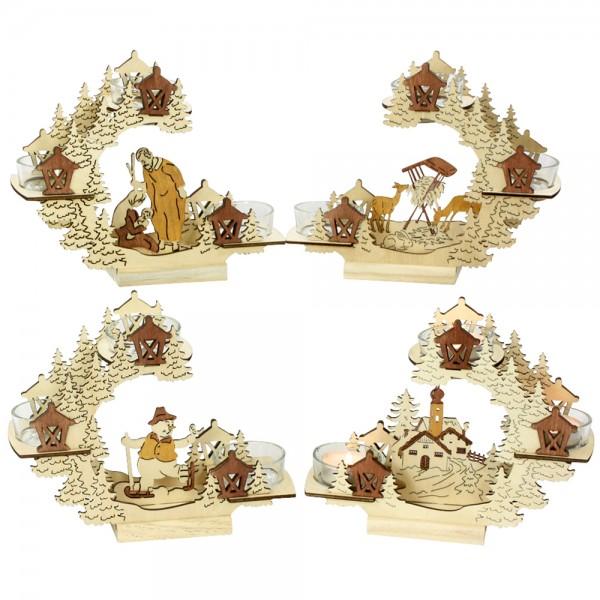 Holz Teelichtbogen mit 3 Teelicht-Gläsern (Laserholz) 4-fach sort. 19 x 7 x 16 cm im Set