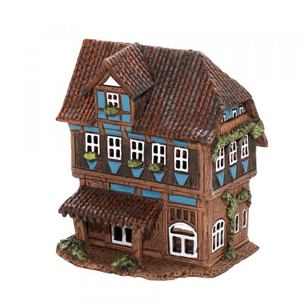 Keramik Licht-Duftölhaus (in Schornstein) Fachwerkhaus 12,5 x 10,5 x 15 cm