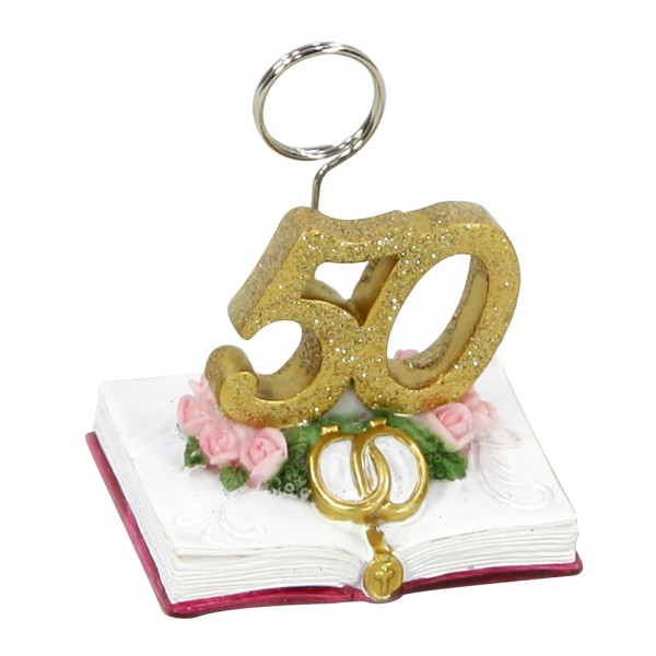 Polyresin Clip 50 Goldene Hochzeit 6,1 x 4,9 x 7 cm