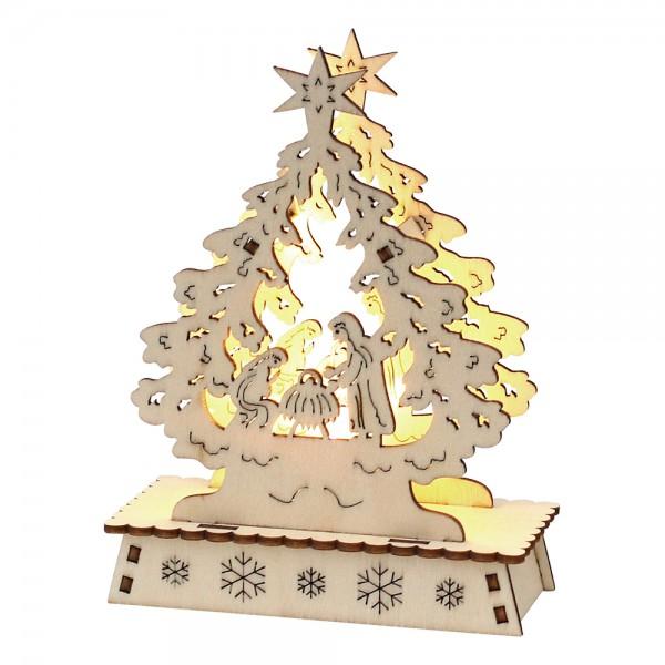 Holz Mini-Schwibbogen Weihnachtsbaum (Heilige Nacht) (Laserholz) 14,7 x 5 x 11 cm LED