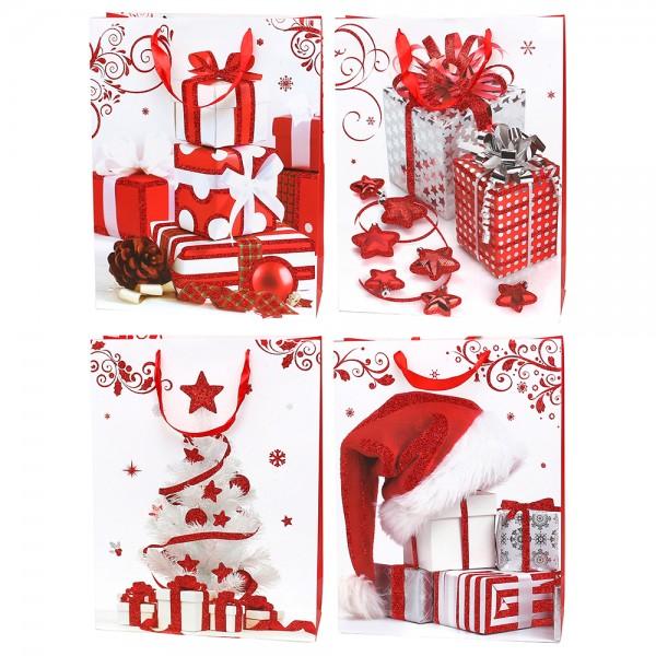 Papier Tragetasche Weihnachtsgeschenke mit rotem Glitter ca. Din A3 4-fach sort. 31 x 12 x 40 cm im Set