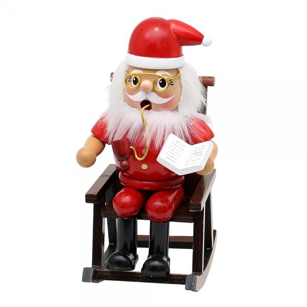 Holz Räucherfigur Weihnachtsmann im Schaukelstuhl 9,5 x 11 x 17 cm