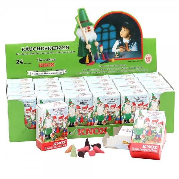 30er Set KNOX-Mini-Räucherkerzen Bunte Mischung im Display 25 x 12 x 7 cm