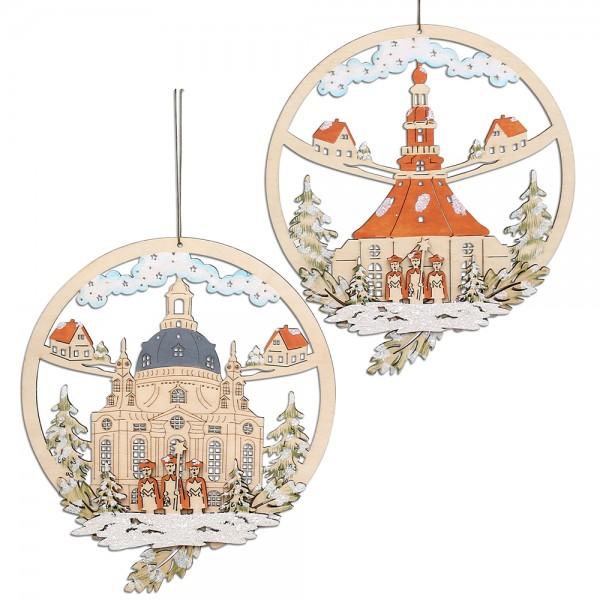 Holz Fensterbild Frauenkirche/Seiffener Kirche (Laserholz) 2-fach sort. 22 x 0,3 x 25,5 cm im Set