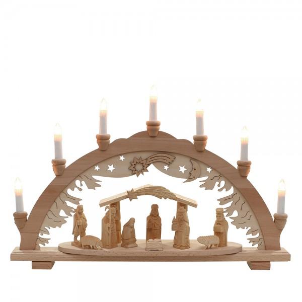 Holz Schwibbogen Krippe/Stall geschnitzt (Premiumholz) 57 x 9 x 38 cm 230 V Kabel, 7 flammig, SPK