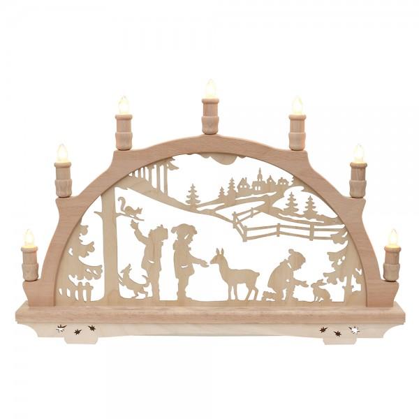Holz Schwibbogen Waldkinder Made in Germany (mit Laserfuß) 57 x 6 x 38 cm 230 V Kabel, 7 flammig, SPK