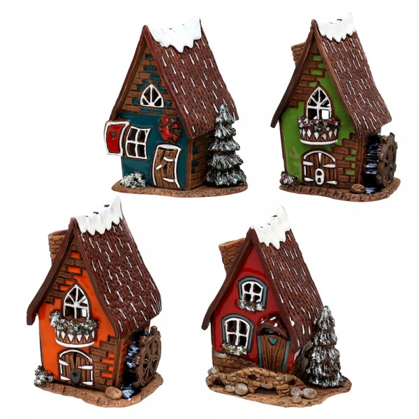 Keramik Lichthaus Wassermühle und Tannenbaum 4-fach sort. 8,5 x 8 x 12 cm im Set