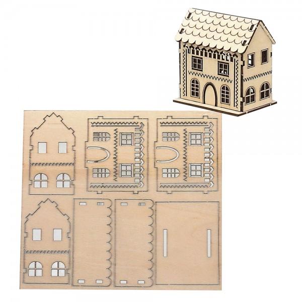 Holz Bausatz Laser-Haus (6 x 4,5 x 6,5 cm) zum Selbstbauen 15 x 0,2 x 13,7 cm