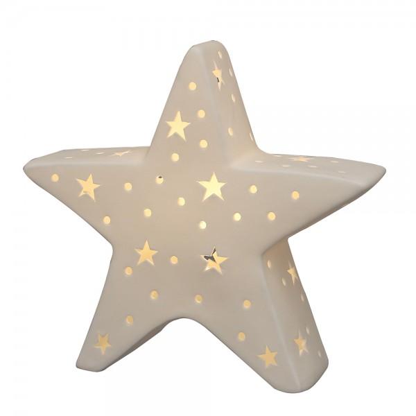 Porzellan Stern weiß 21,2 x 6,6 x 19,5 cm LED