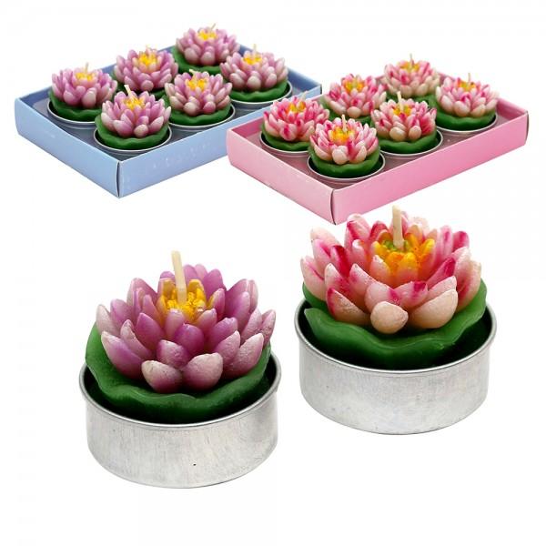 6er Set Teelichte Seerosen, pink/lila 2-fach sort. 4 x 4 x 3,5 cm im Set