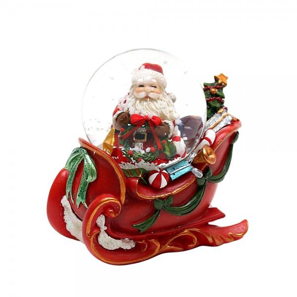 Polyresin Schneekugel Santa im Schlitten 7,5 x 7,5 x 5 cm Ø 4,5 cm
