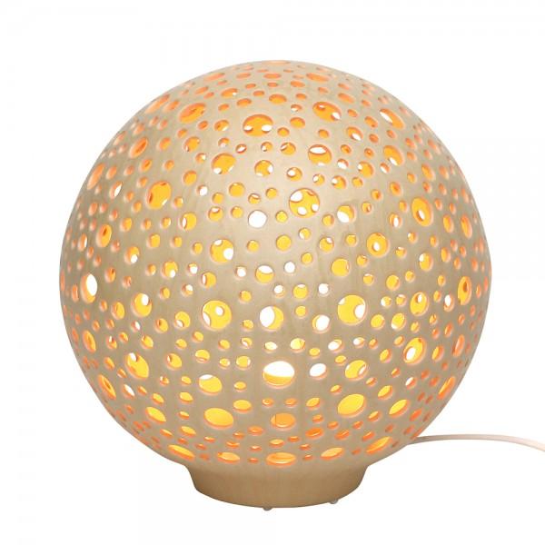 Keramik Tischlampe Orion (Leuchtmittel nicht enthalten), Champagner 27,5 x 27,5 x 28 cm 230 V Kabel, E14