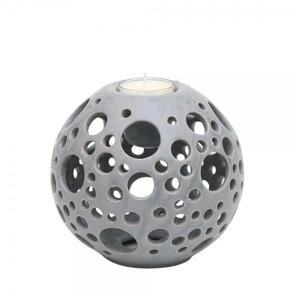 Keramik Kerzenhalter Orion, Grau 14 x 14 x 13,5 cm Ø 14 cm