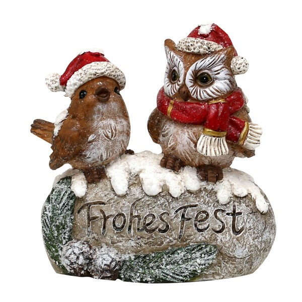 Polyresin Weihnachtseule und - vogel auf Stein, Frohes Fest, mit Weihnachtsmütze 14,5 x 10 x 15,5 cm