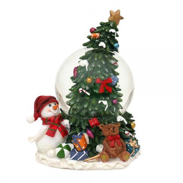 Polyresin Schneekugel Schneemann am Tannenbaum 15 x 13,5 x 20 cm Ø 10 cm Spielwerk Oh Tannenbaum