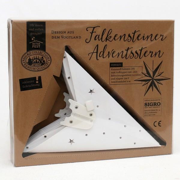 Kunststoff Falkensteiner Adventsstern Fensterstern 11 Spitzen zum Aufklappen, weiß 60 x 19 x 60 cm inkl. Adapter 4,5 V, LED, wetterfest/für außen geeignet