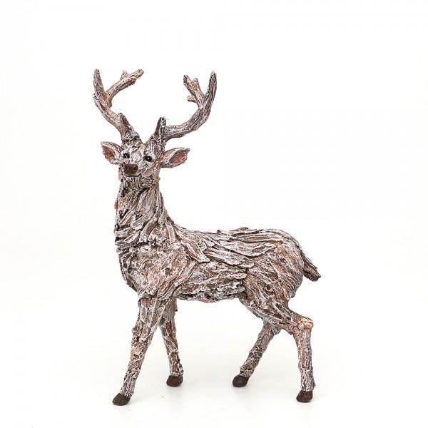 Polyresin Hirsch in Rindenoptik, stehend, mit Glitter 22 x 12,5 x 31 cm