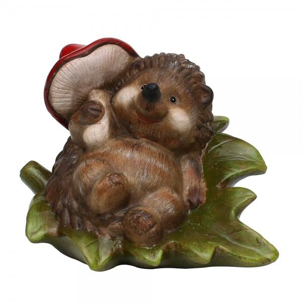 Keramik Igel liegend auf Blatt mit Pilz 29 x 23 x 21 cm