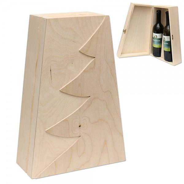 Holz Weinkiste Tanne für 2 Flaschen mit Scharnier konisch, natur 24 x 10 x 35,5 cm