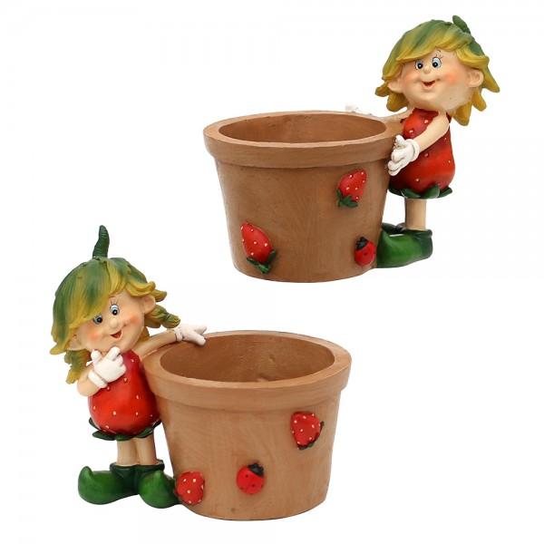 Polyresin Erdbeerkind Charlie mit Pflanzpot 2-fach sort. 12,5 x 8 x 12 cm Ø 6,5 cm im Set