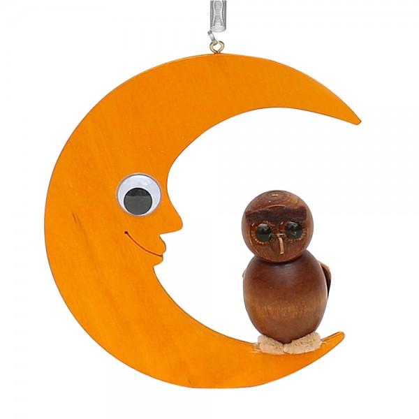 Holz Figur Eule auf Mond mit Sprungfeder 13 x 4 x 14,5 cm