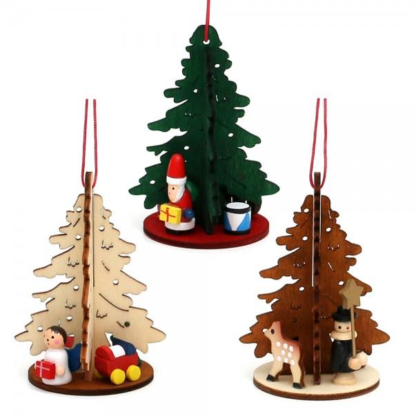 Holz Anhänger Tanne bunt mit Spielsachen 3-fach sort. 6 x 6 x 8,5 cm im Set