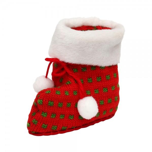 Textil Strick-Stiefel zum Befüllen, rot/weiß 11 x 5 x 11 cm