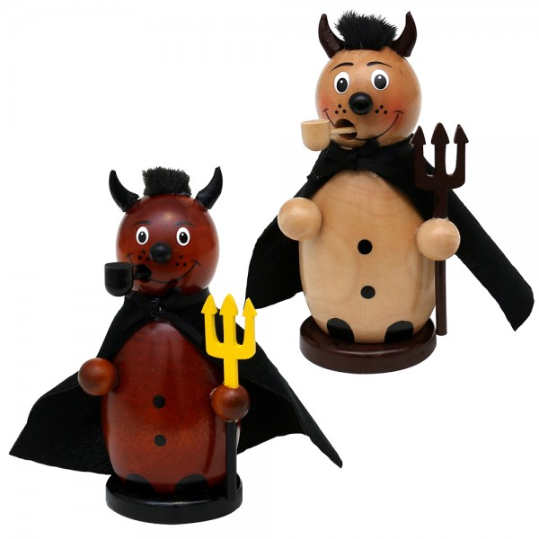 Holz Räucherfigur Teufel braun/natur 2-fach sort. 8 x 7,5 x 13 cm im Set