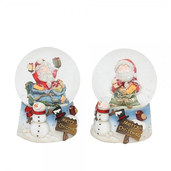 Polyresin Schneekugel Merry Christmas Santa auf hellblauem Sockel mit Schneemann 2-fach sort. 7 x 7 x 9 cm Ø 6,5 cm im Set