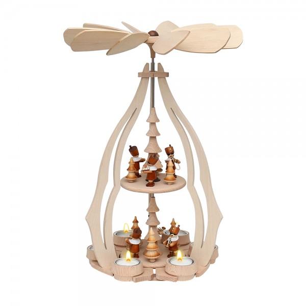 Holz Erzgebirgs-Tischpyramide Bergleute groß für 6 Teelichte 24 x 24 x 45 cm