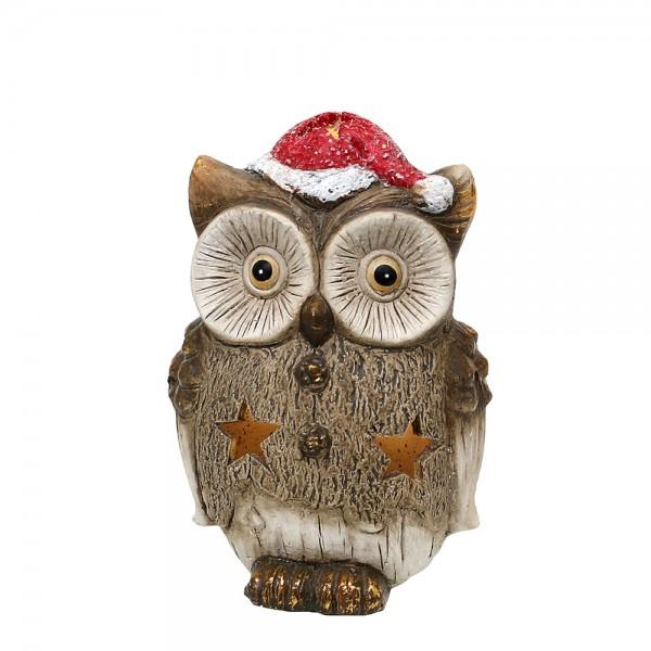 Keramik Eule mit Weihnachtsmütze 8,5 x 7,5 x 12,5 cm LED