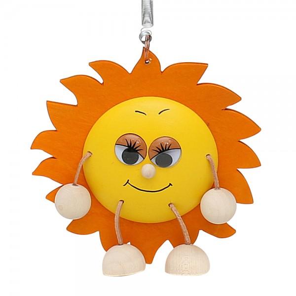 Holz Figur Sonne mit Sprungfeder 13 x 2,5 x 13 cm