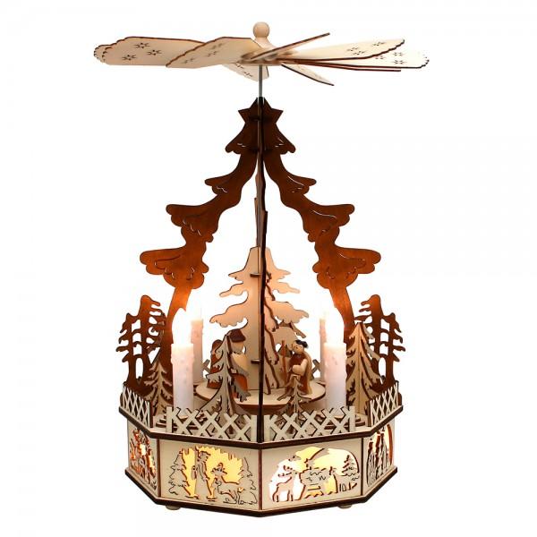 Holz Pyramide Heilige Familie, Laserholz, mit Motor 19,5 x 19,5 x 35 cm Batteriebetrieb AA, LED, Bewegung