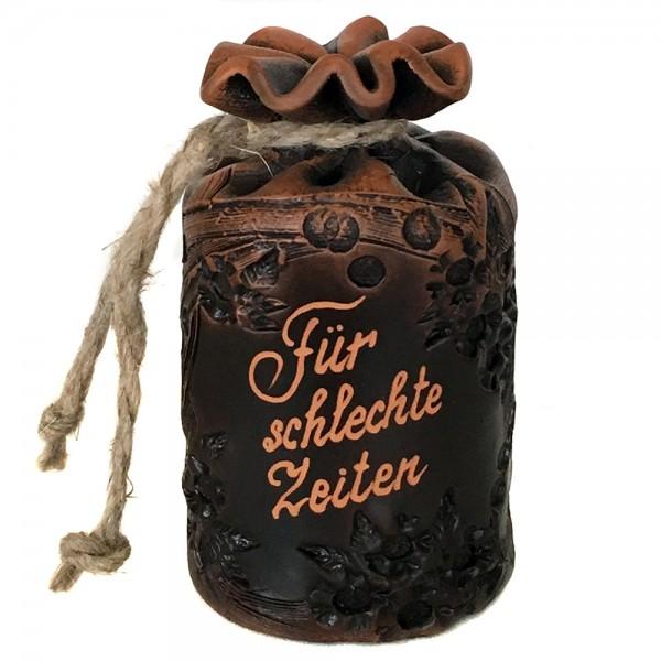 Keramik Sparsack Für schlechte Zeiten, braun 8,5 x 8,5 x 14,5 cm