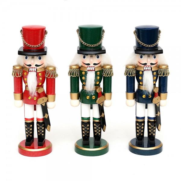 Holz Nussknacker Soldat, rot/blau/grün metallic 3-fach sort. 7 x 5,5 x 20 cm im Set