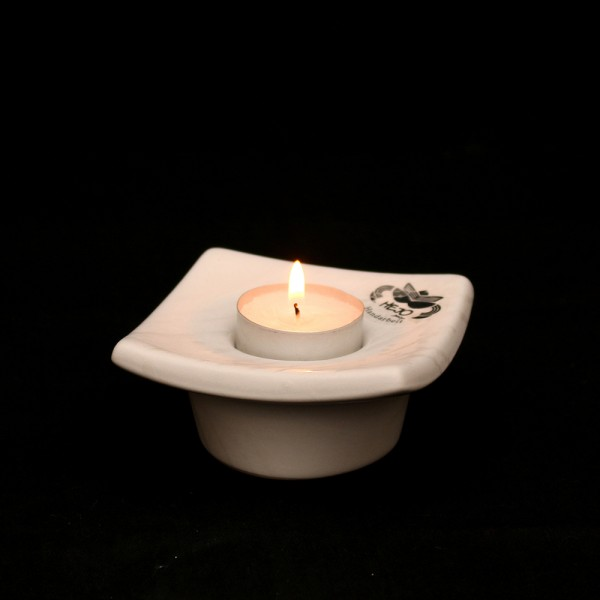 Keramik Teelichthalter Rambo 1, Weiß 9,5 x 9,5 x 4 cm
