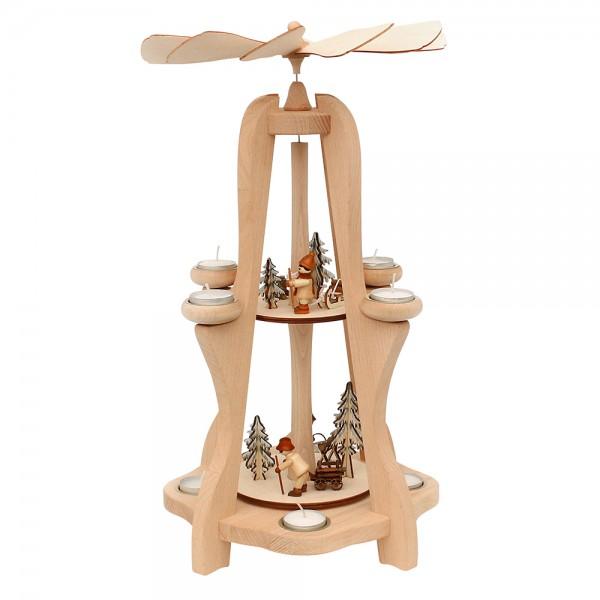 Holz Teelicht-Tischpyramide Waldarbeiter für 8 Teelichte (Buchenholz) 28,5 x 28,5 x 50 cm